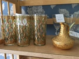 gold on jade drinking glasses