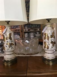 Pair of midcentury lamps with punch bowl set