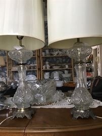 crystal lamps, and punch bowl set