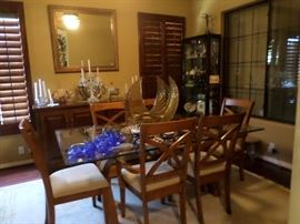 Dining Set-6 chairs Glass top table, Bar/Buffet, Lg. Gold Mirror, 2 Glass Shelves display Cabinets with Lites