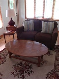 Upholstered Love Seat (Brown)~Oval Coffee Table (Oak)~Vintage End Table~ Lamp~Large Area Rug