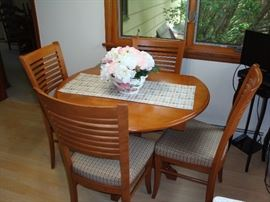 Solid Wood Drop Leaf Table & (4) Upholstered Chairs (1 yr old)