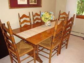 Vintage (1970's) Solid Maple Table w/ (2) Leaves & Protective Hard Cover~(6) Ladderback Chairs~Beautiful!