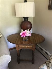 Solid Wood Drop Leaf Table & (1 of 2) Matxhing Lamps