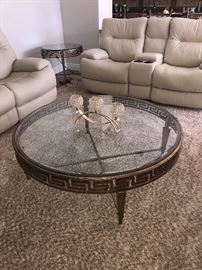 Round Gold Glass top table