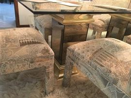 6 custom made Stoneville dining side  chairs and double pedestal glass top Stoneville  dining table!