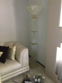 Amazing Lightolier  modern brass and glass rod floor lamp with extra glass rods!