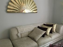 Sleek contemporary Jackson Furniture KY sofa with corner piece, decorative pillows and Artisan House brass wall fan signed sculpture!