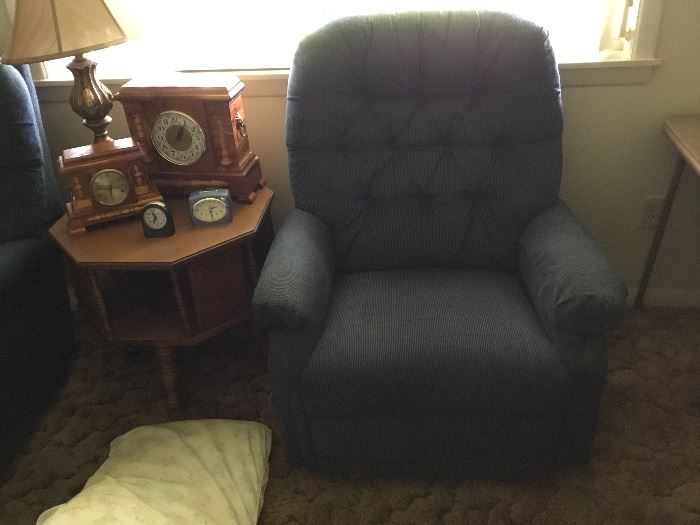 LaZboy rocker recliner, table, clocks