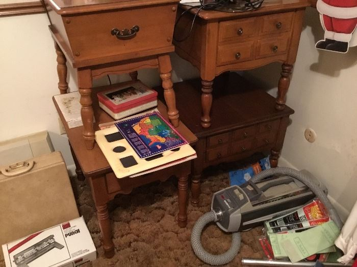 Vacuum cleaner, toys, 4 different side/end tables