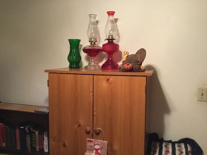 Oil lamps, cabinet