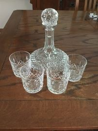 Waterford Lismore decanter and 4 glasses