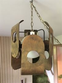 Wood (not brass) paneled pendant lamp