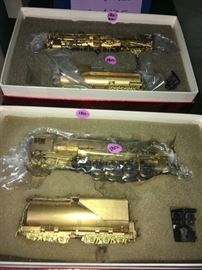 Brass train engine and cars