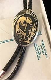 14K gold and sterling silver bolo tie with kokopelli image; by Steven Stockyma, Hopi, corn clan, New Mexico. Many lovely pieces of Native American turquoise and sterling silver jewelry!