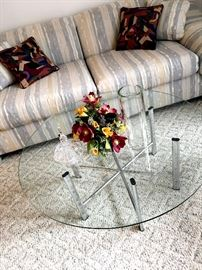 We Have Several Chrome w/Glass Tables...and A Two Cushion Sofa...