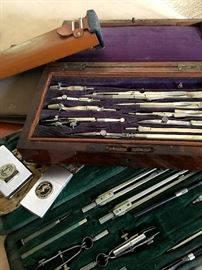 AND...We Just Might Happen To Have A 19th Century Antique English Drafting Tool Set in a Rosewood Box!...Brass, Steel & Whalebone...Complete 11 Pc Set...