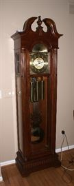 SLIGH GRANDFATHER CLOCK. Mahogany Case MODEL # Works & Sounds Great.