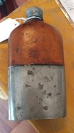 Civil war glass & leather flask