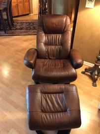 Brown Leather chair and ottman
