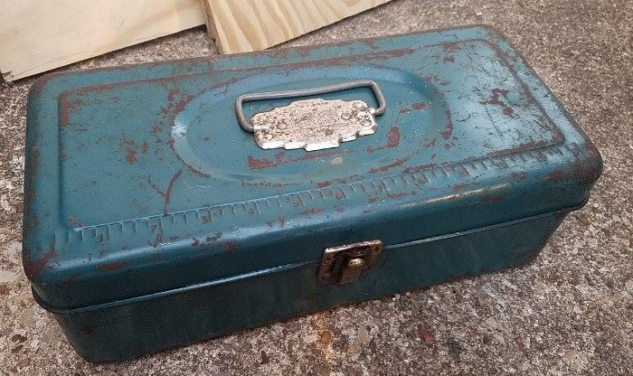 vintage metal tool box with patina