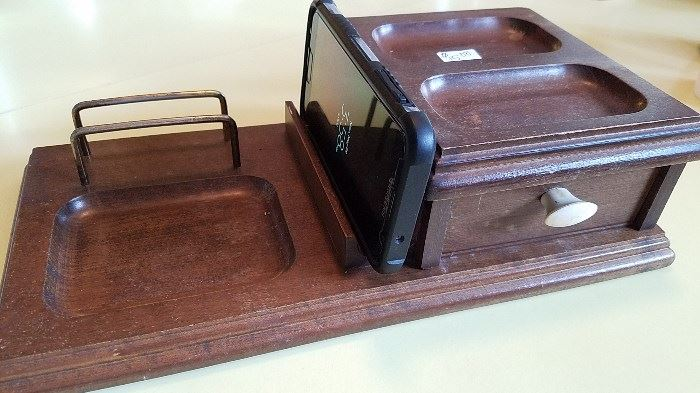 Gentleman's caddy - spot for wallet, watch, cell phone, cuff links, change and and velvet lined pull out drawer