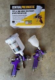 Pair (large capacity and detail/touch-up) HVLP Automotive paint guns
