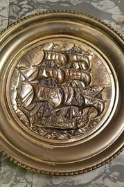 Large Pirate ship brass plate