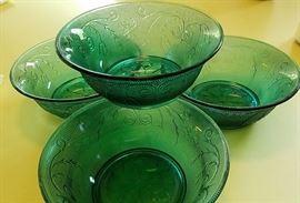 emerald glass ice cream bowl set