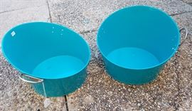 Pair of Turquoise ice buckets