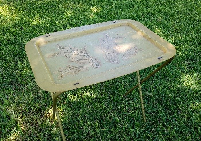 One of many vintage TV trays