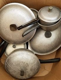 "Complete set vintage Club cookware in ""hammered aluminum"""