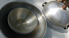 Antique Popcorn maker with serving dish and individual bowls.