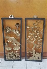 One of two pairs vintage Asian wall art - very pretty