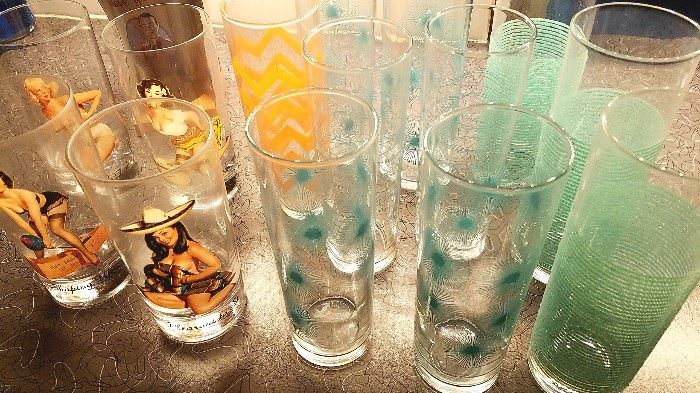 Various barware - Libby grippy glasses, dandelion, Pinup girl glasses and more!