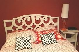 Cool 1970s headboard. Nightstand, lamp, coasters and clock also for sale