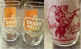 Vintage Grand Prize Beer and Lone Star Barrel Glasses