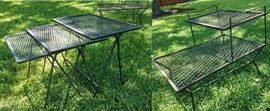 MCM wrought Iron 2-tier end table and nesting set