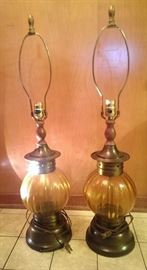 Pair of amber glass nightstand lamps