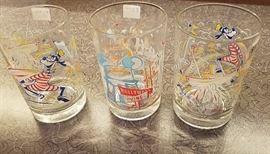 Vintage Disneyland juice glasses (large and heavy)