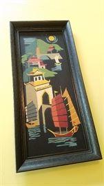 Vintage Asian framed art
