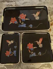 Beautiful set of vintage Asian nesting trays w/ Hummingbirds