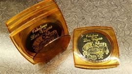 vintage Vegas coaster set with caddy