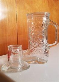 cowboy boot mug and cowboy hat shotglass