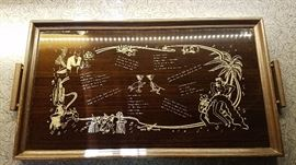 Very cool vintage cocktail serving tray with drink recipes