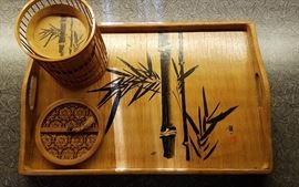 Vintage Japanese bamboo cocktail serving tray with matching coasters & caddy