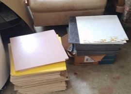 Stacks and stacks of vintage VCT tiles....various colors and patterns!