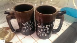 """Vintage """"Wet your whistle"""" ceramic beer steins - with built in whistle!"""