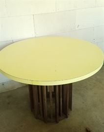 cool yellow formica table with modern (teak?) wood base