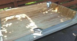 Corner cabinet countertop (chrome and faux butcher-block)